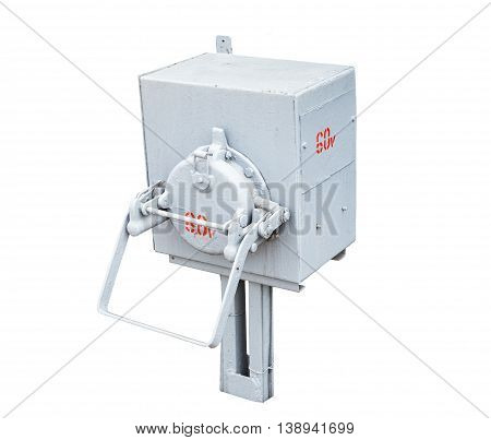 Outdoor electric control box isolated on white background