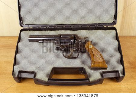 RIVER FALLS,WISCONSIN-JULY 18,2016: A vintage Smith and Wesson thirty eight caliber revolver in a padded case.