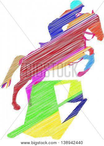 sketch horse jump