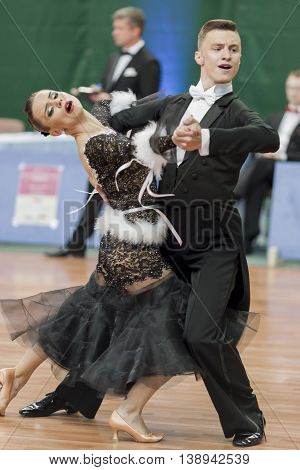 Minsk Belarus -May 28 2016: Yushkevich Aleksei and Apraksina Anastasiya perform Youth-2 Standard Program on National Championship of the Republic of Belarus in May 28 2016 in Minsk Belarus