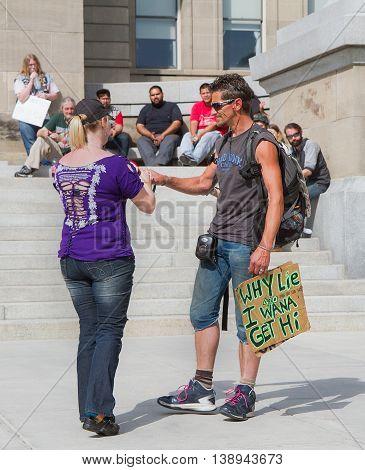 Boise, Idaho/usa - May 7, 2016:boise, Idaho/usa - May 7, 2016: Man Wants To Get Hi Wants To Speak Du