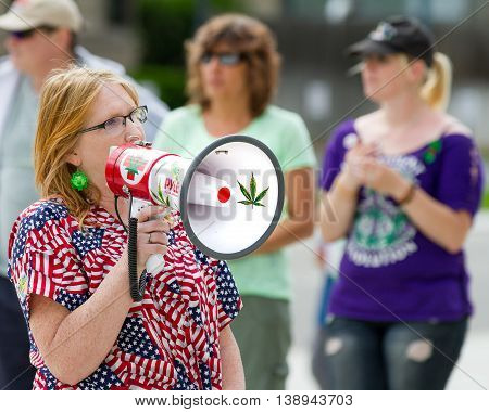 Boise, Idaho/usa - May 7, 2016: Woman Speaking About Pot At The Boise Global Marijauna March