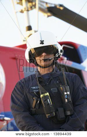 Portrait of paramedic standing in front of Medevac