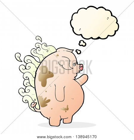cartoon fat smelly pig with thought bubble