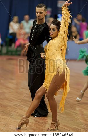 Minsk Belarus -May 28 2016: Podkas Sergey and Klepcha Anastasiya Perform Adult Latin-American Program During the National Championship of the Republic of Belarus in May 28 2016 in Minsk Republic of Belarus