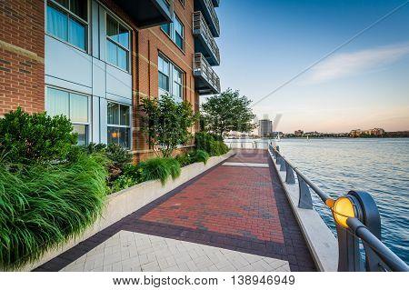 The Boston Harborwalk At Battery Wharf, In The North End, Boston, Massachusetts.