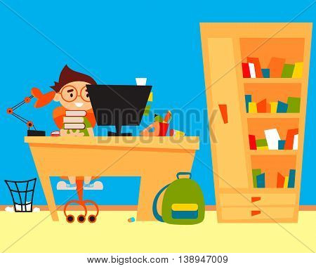Schoolboy doing homework at the computer. Vector illustration