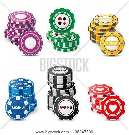 gambling chips stacks over white background