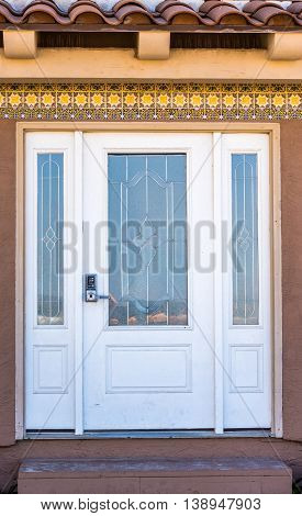 House Entrance Door With Two Thirds Lite With Arctic Glass Inserts And Two Side Panels
