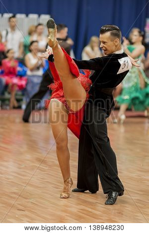 Minsk Belarus -May 28 2016: Kosyakov Egor and Navoychik Anna Perform Adult Latin-American Program on National Championship of the Republic of Belarus in May 28 2016 in Minsk Belarus