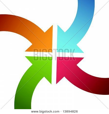 Four Curve Color Arrows Converge Point Center