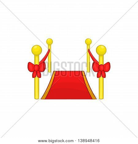 Red carpet icon in cartoon style isolated on white background. Rewarding symbol