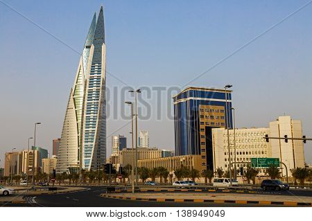 MANAMA, BAHRAIN - MAY 14, 2016: View of the World Trade Center and other high rise buildings in the city.