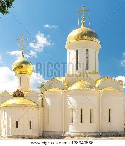 Golden Cupolas of Trinity Cathedral in Lavra of St. Sergius, Sergiev Posad, Russia.