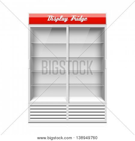 Display fridge with two glass sliding doors. Realistic vector Illustration.