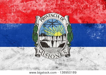 Flag Of Misiones Province With Coat Of Arms, Argentina, With A V