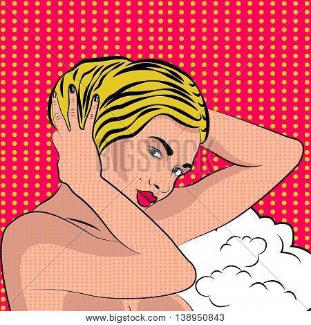 Sexy nude pop art girl in a shower