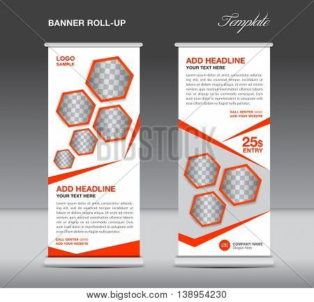 Orange Roll up banner template stand display advertisement flyer design vector for business