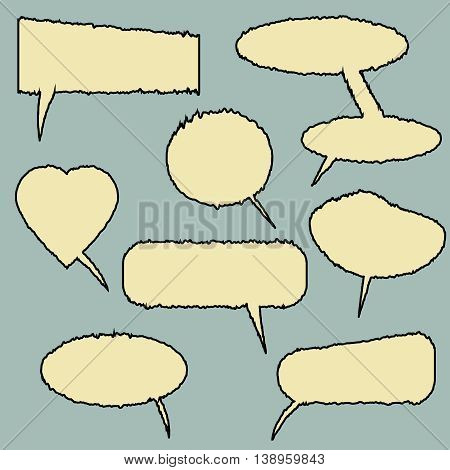Set of comic speech bubbles. Wrinkle effect. Can be used for web and mobile applications. Pop art style