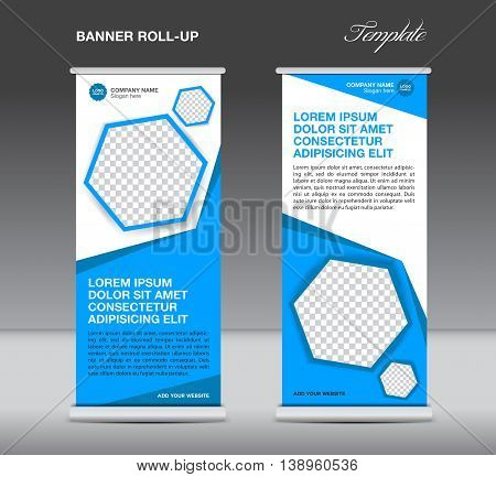 Blue Roll up banner template stand display advertisement flyer design polygon vector