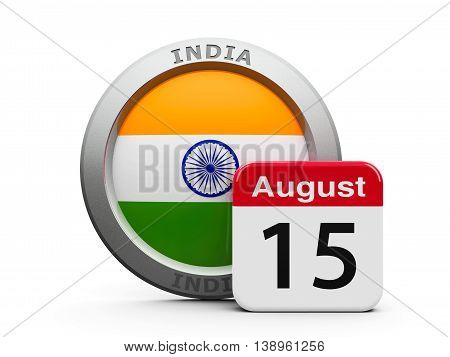 Emblem of India with calendar button - The Fifteenth of August - represents the Independence Day in India three-dimensional rendering 3D illustration