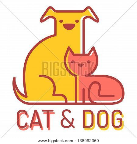Vector flat logo with cat and dog