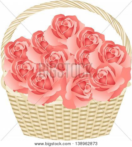 Scalable vectorial image representing a basket of roses, isolated on white.
