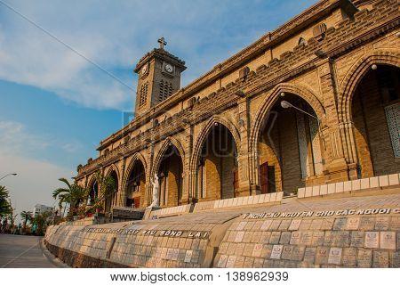 Beautiful stone Catholic Cathedral. Nha Trang Cathedral in Nha Trang, Vietnam.