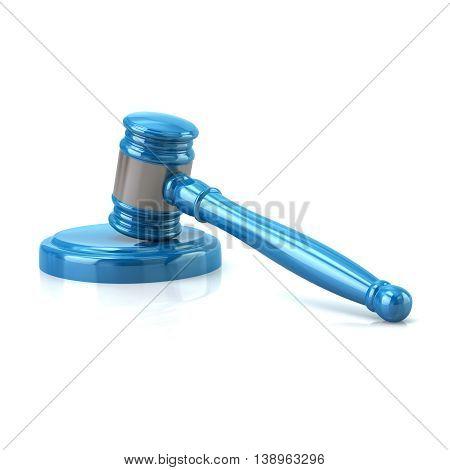 3D Illustration Of Blue Judges Gavel