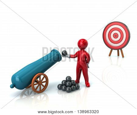 3d illustration. Red man load cannon to hit the target isolated on white background