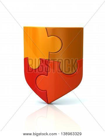 3d illustration of red puzzle shield isolated on white background