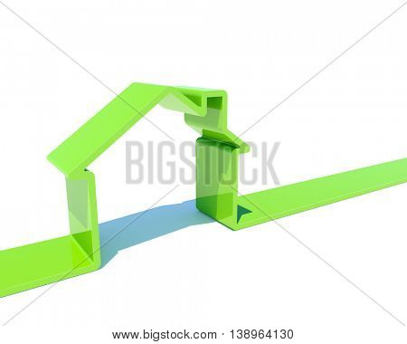 3D house green shape isolated on white background image. 3D rendering of real estate concept.