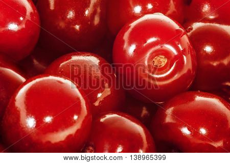 Fresh sour Cherries. Fruit background. Close up view.