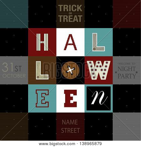 Happy Halloween flyers design.The phrases Trick or Treat,31st October,halloween,welcome to night party and the place for address of the party on the square background.