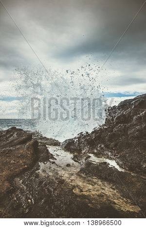 Water shoots through a spout at Halona Blowhole