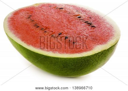 Half of ripe watermelon isolated on white background.