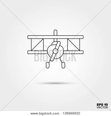 Biplane Aircraft Toy Line Icon Vector