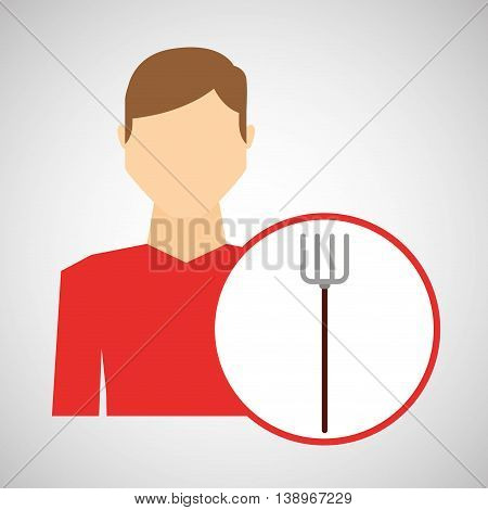 farm countryside farmer people isolated, vector illustration