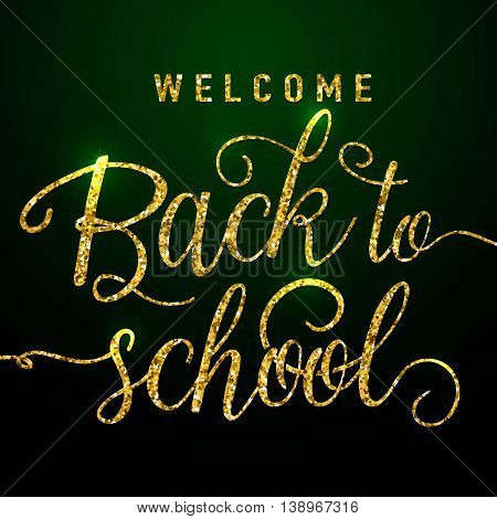 Vector illustration vector photo free trial bigstock vector illustration of back to school greeting card with gold glitter textured lettering element on dark m4hsunfo