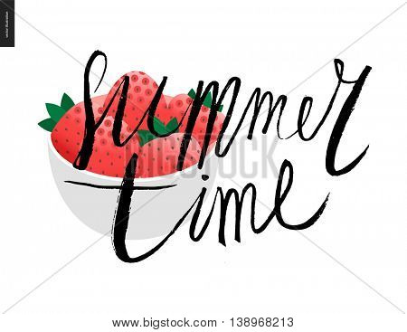 Summer time lettering and strawberry - a vector cartoon black brush hand written lettering Summer Time and white bowl full of fresh strawberries