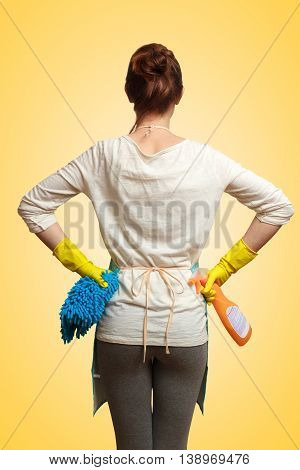 Equipment for cleaning in the hands of a young woman closeup