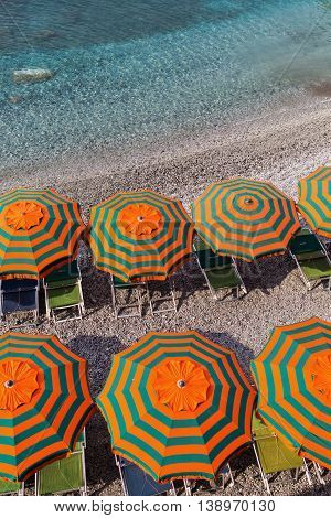 Sunshades At The Beach Of Monterosso, Cinque Terre, Italy