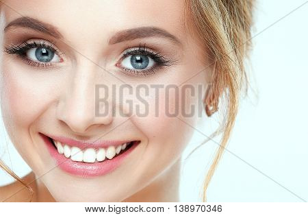 Portrait of beautiful woman on white background .