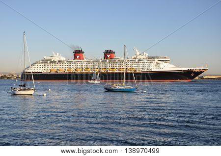SAN DIEGO - CIRCA OCTOBER 2015: Cruise ship leaves San Diego Bay in San Diego, California.