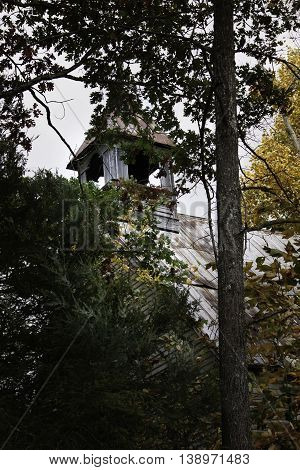 Abandoned church in Appalachia, Chilhowie Virginia with trees.
