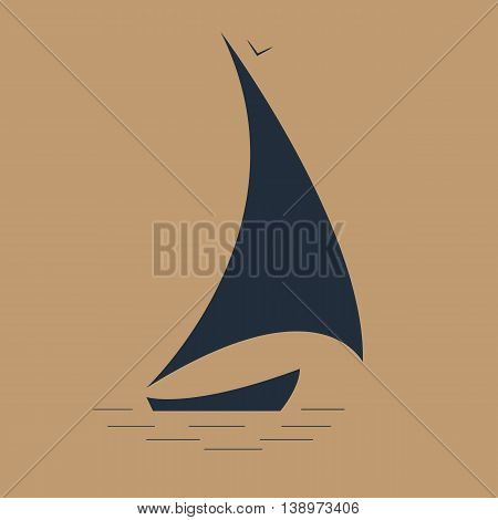 sailboat at sea seascape icon vector illustration
