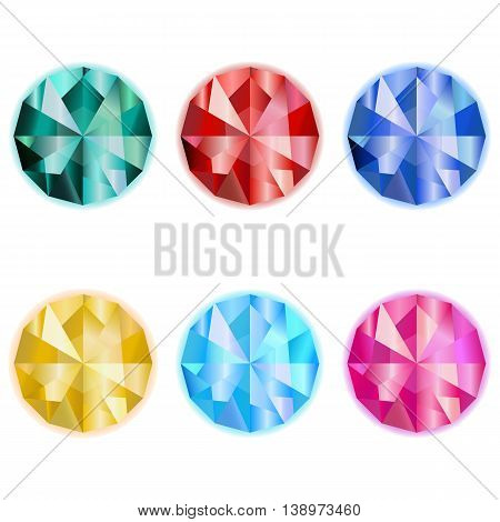 collection colorful jewelry gem vector emerald sardius sapphire topaz game icon on a white background