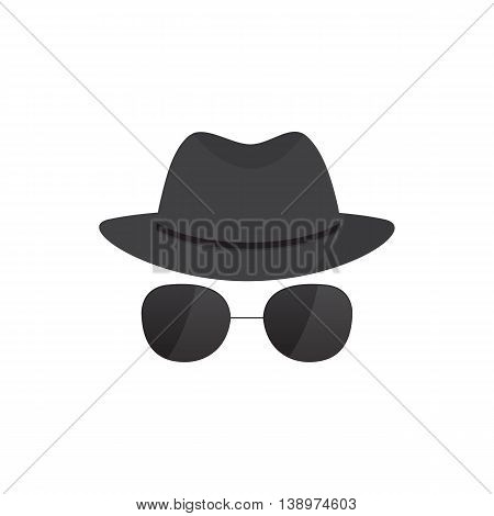 Secret  agent icon in a hat and glasses