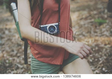 Woman Solo Traveler Trekking Camping Concept