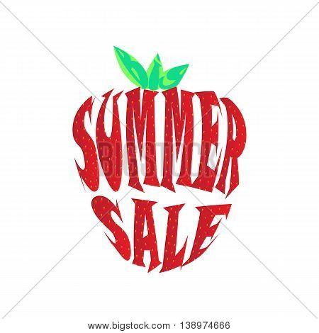 Big summer sale label. Inscription summer sale in strawberry style